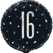 "Black and Silver Holographic 16th Birthday 18"" Foil 