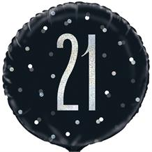 "Black and Silver Holographic 21st Birthday 18"" Foil 