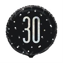 "Black and Silver Holographic 30th Birthday 18"" Foil 