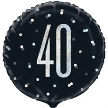 "Black and Silver Holographic 40th Birthday 18"" Foil 