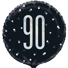 "Black and Silver Holographic 90th Birthday 18"" Foil 