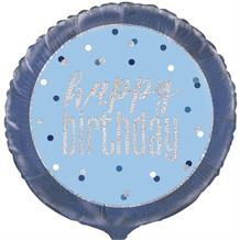"Blue and Silver Holographic Happy Birthday 18"" Foil 