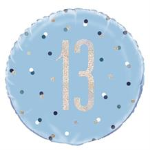 "Blue and Silver Holographic 13th Birthday 18"" Foil 
