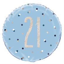 "Blue and Silver Holographic 21st Birthday 18"" Foil 