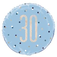"Blue and Silver Holographic 30th Birthday 18"" Foil 