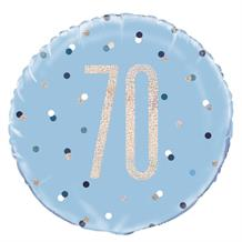 "Blue and Silver Holographic 70th Birthday 18"" Foil 