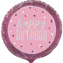 "Pink and Silver Holographic Happy Birthday 18"" Foil 