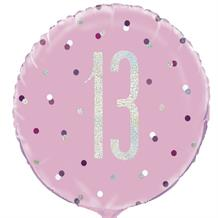 "Pink and Silver Holographic 13th Birthday 18"" Foil 