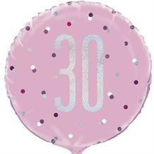 "Pink and Silver Holographic 30th Birthday 18"" Foil 