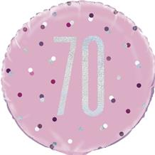 "Pink and Silver Holographic 70th Birthday 18"" Foil 