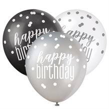 Black and Silver Holographic Happy Birthday Party Latex Balloons
