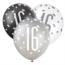 Black and Silver Holographic 16th Birthday Party Latex Balloons