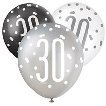 Black and Silver Holographic 30th Birthday Party Latex Balloons