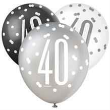 Black and Silver Holographic 40th Birthday Party Latex Balloons