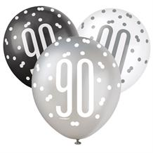 Black and Silver Holographic 90th Birthday Party Latex Balloons