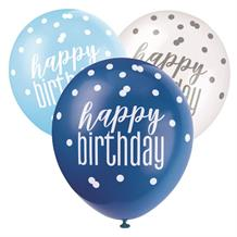 Blue and Silver Holographic Happy Birthday Party Latex Balloons
