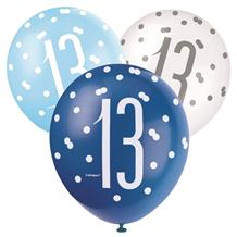 Blue and Silver Holographic 13th Birthday Party Latex Balloons