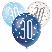 Blue and Silver Holographic 30th Birthday Party Latex Balloons