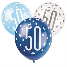 Blue and Silver Holographic 50th Birthday Party Latex Balloons