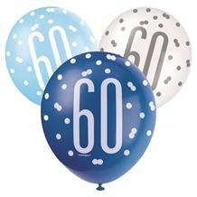 Blue and Silver Holographic 60th Birthday Party Latex Balloons