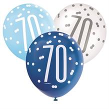 Blue and Silver Holographic 70th Birthday Party Latex Balloons