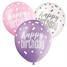 Pink and Silver Holographic Happy Birthday Party Latex Balloons
