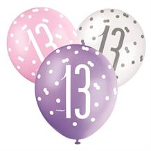 Pink and Silver Holographic 13th Birthday Party Latex Balloons