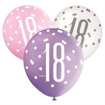 Pink and Silver Holographic 18th Birthday Party Latex Balloons