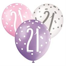 Pink and Silver Holographic 21st Birthday Party Latex Balloons