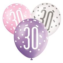 Pink and Silver Holographic 30th Birthday Party Latex Balloons