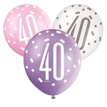 Pink and Silver Holographic 40th Birthday Party Latex Balloons
