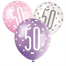 Pink and Silver Holographic 50th Birthday Party Latex Balloons