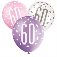 Pink and Silver Holographic 60th Birthday Party Latex Balloons