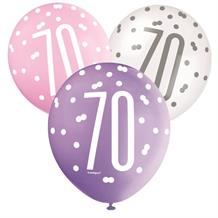 Pink and Silver Holographic 70th Birthday Party Latex Balloons