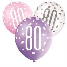 Pink and Silver Holographic 80th Birthday Party Latex Balloons