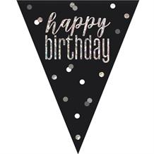 Black and Silver Holographic Happy Birthday Flag Banner | Bunting | Decoration