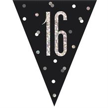 Black and Silver Holographic 16th Birthday Flag Banner | Bunting | Decoration