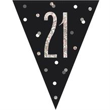 Black and Silver Holographic 21st Birthday Flag Banner | Bunting | Decoration