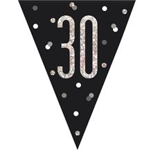 Black and Silver Holographic 30th Birthday Flag Banner | Bunting | Decoration