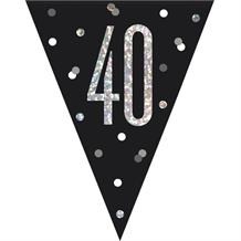 Black and Silver Holographic 40th Birthday Flag Banner | Bunting | Decoration