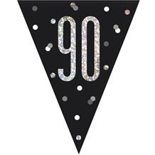 Black and Silver Holographic 90th Birthday Flag Banner | Bunting | Decoration