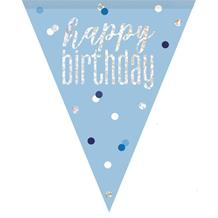 Blue and Silver Holographic Happy Birthday Flag Banner | Bunting | Decoration
