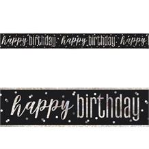 Black and Silver Holographic Happy Birthday Foil Banner | Decoration