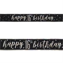 Black and Silver Holographic 16th Birthday Foil Banner | Decoration