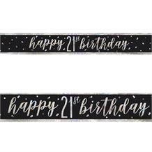 Black and Silver Holographic 21st Birthday Foil Banner | Decoration