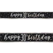 Black and Silver Holographic 30th Birthday Foil Banner | Decoration