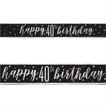 Black and Silver Holographic 40th Birthday Foil Banner | Decoration