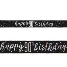 Black and Silver Holographic 90th Birthday Foil Banner | Decoration