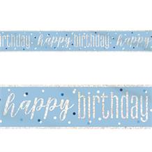 Blue and Silver Holographic Happy Birthday Foil Banner | Decoration