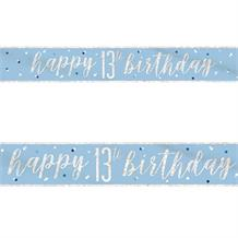 Blue and Silver Holographic 13th Birthday Foil Banner | Decoration